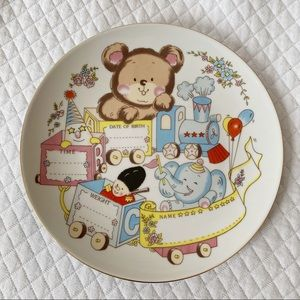 VTG Porcelain Baby Announcement Decorative Plate